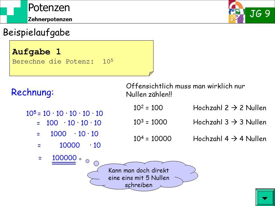 Potenzen JG 9 Zehnerpotenzen Wir kennen:  = 10 9 = 10 5 10 10 00000000 100000000 = 10 8 10000000 = 10 7 1000000 = 10 6 100000 10000 = 10 4 1000 = 10