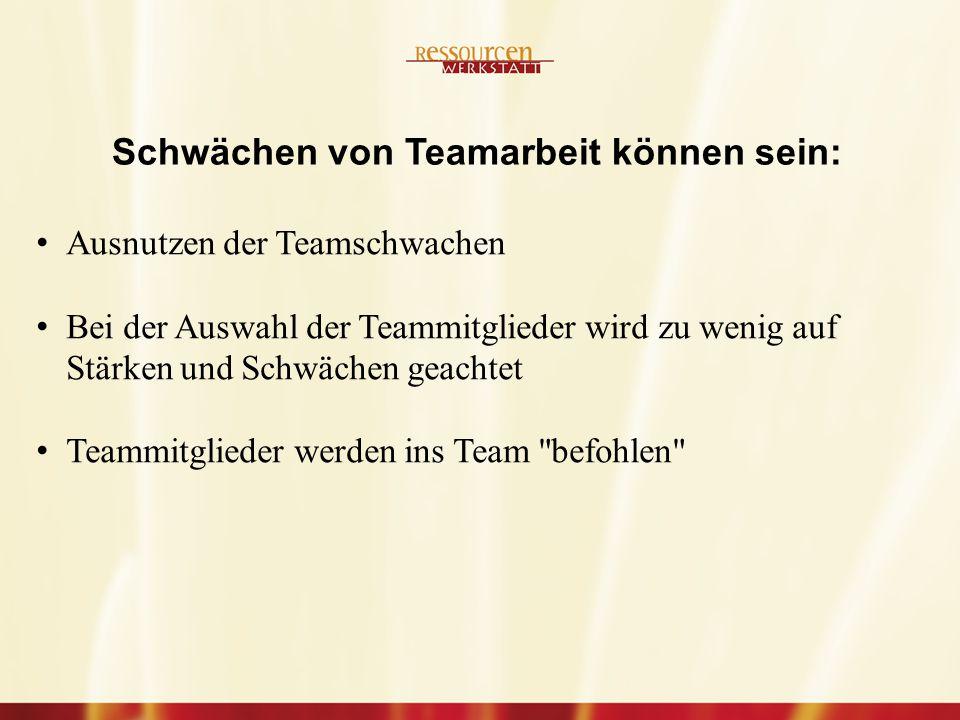 Ausnutzen der Teamschwachen Bei der Auswahl der Teammitglieder wird zu wenig auf Stärken und Schwächen geachtet Teammitglieder werden ins Team befohlen Schwächen von Teamarbeit können sein:
