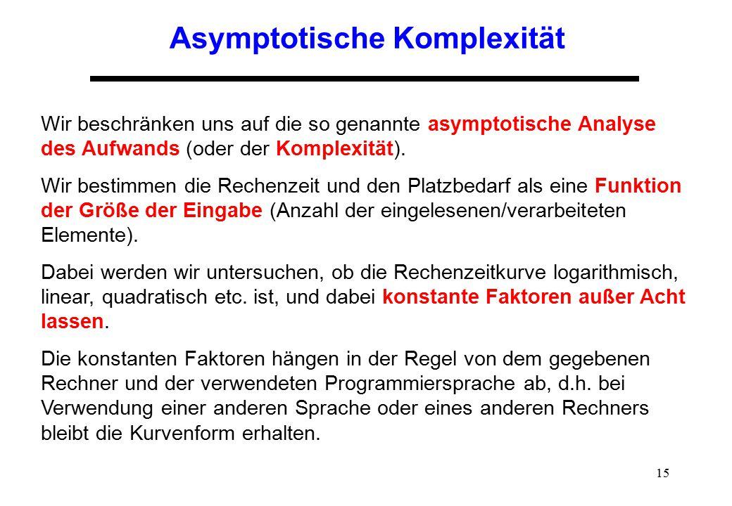 15 Asymptotische Komplexität Wir beschränken uns auf die so genannte asymptotische Analyse des Aufwands (oder der Komplexität). Wir bestimmen die Rech