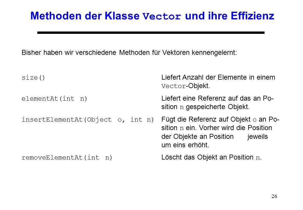 26 Methoden der Klasse Vector und ihre Effizienz Bisher haben wir verschiedene Methoden für Vektoren kennengelernt: size() Liefert Anzahl der Elemente