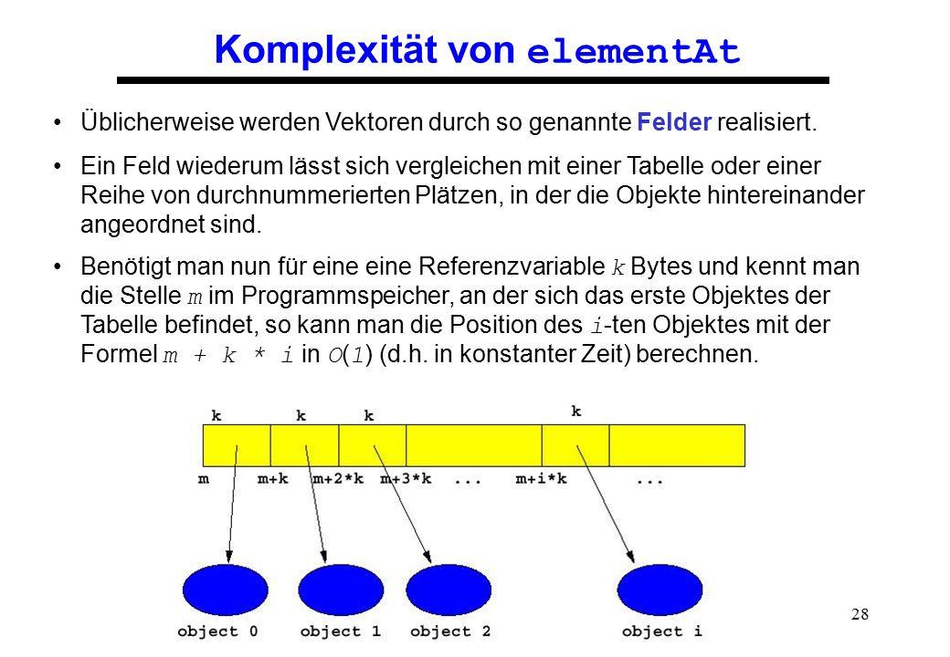 28 Komplexität von elementAt Üblicherweise werden Vektoren durch so genannte Felder realisiert. Ein Feld wiederum lässt sich vergleichen mit einer Tab