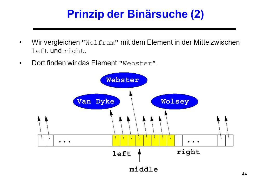 44 Prinzip der Binärsuche (2) Wir vergleichen