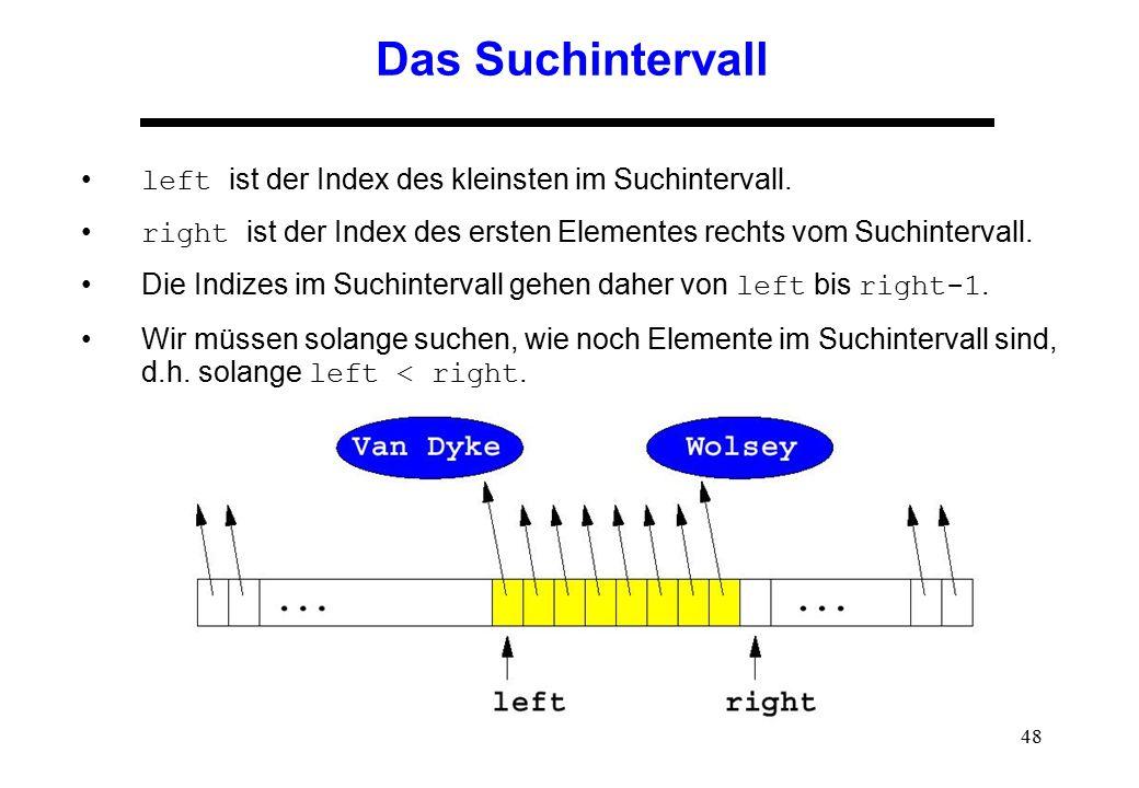 48 Das Suchintervall left ist der Index des kleinsten im Suchintervall. right ist der Index des ersten Elementes rechts vom Suchintervall. Die Indizes