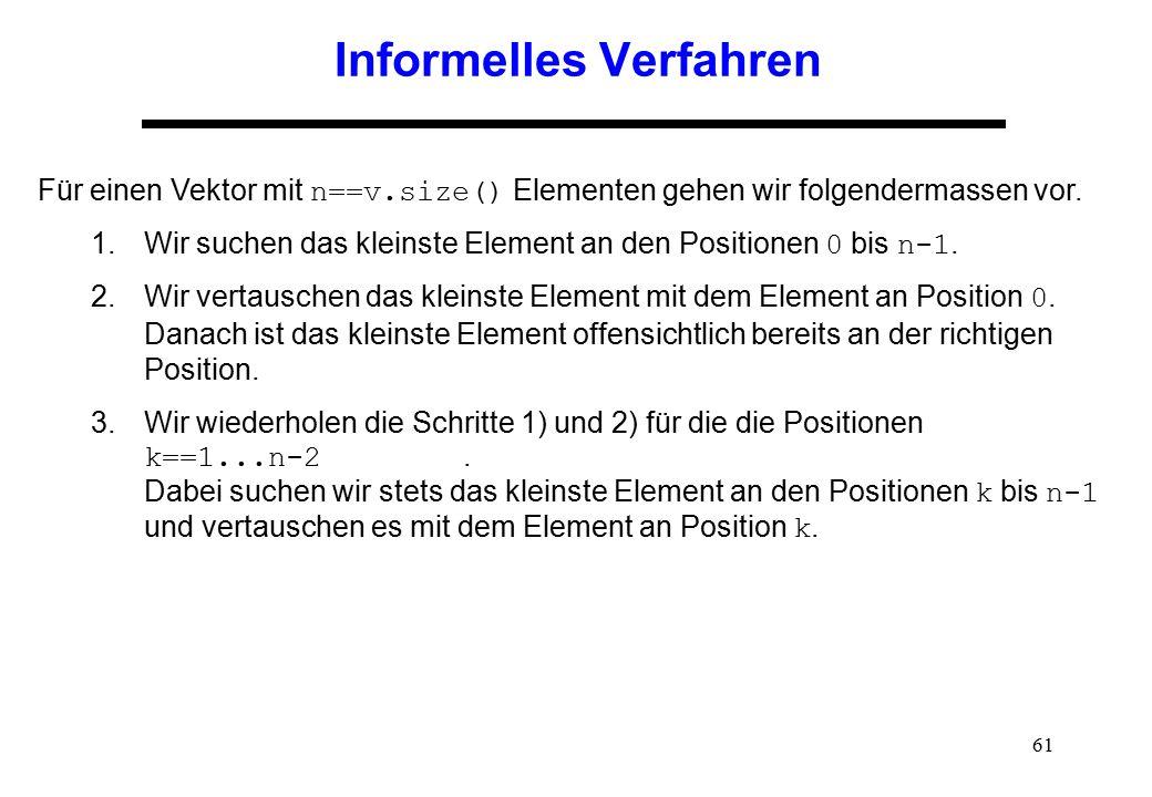 61 Informelles Verfahren Für einen Vektor mit n==v.size() Elementen gehen wir folgendermassen vor. 1.Wir suchen das kleinste Element an den Positionen
