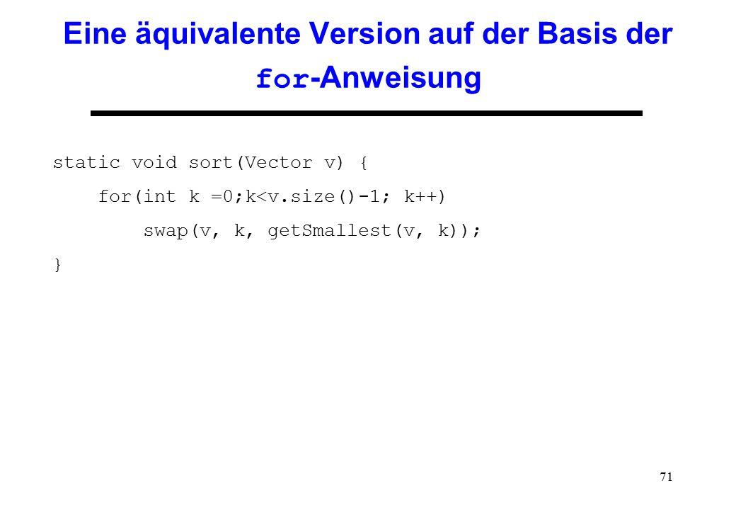 71 Eine äquivalente Version auf der Basis der for -Anweisung static void sort(Vector v) { for(int k =0;k<v.size()-1; k++) swap(v, k, getSmallest(v, k)