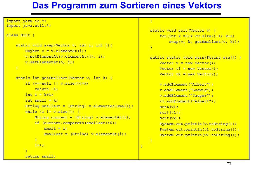 72 Das Programm zum Sortieren eines Vektors import java.io.*; import java.util.*; class Sort { static void swap(Vector v, int i, int j){ Object o = v.