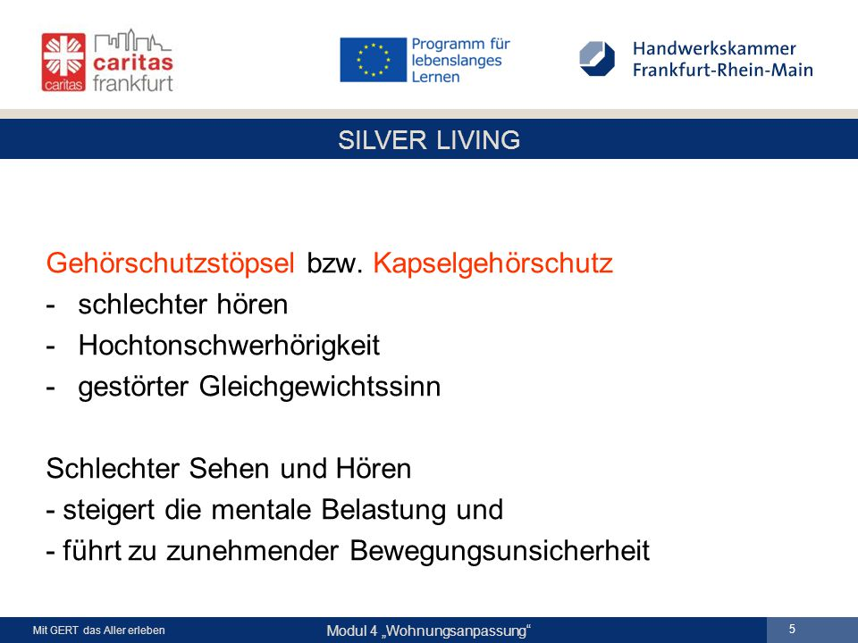 "SILVER LIVING Modul 4 ""Wohnungsanpassung Mit GERT das Aller erleben 5 Gehörschutzstöpsel bzw."
