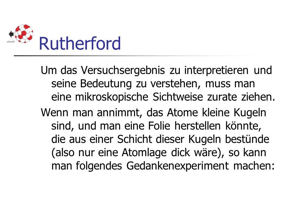 Rutherford Um das Versuchsergebnis zu interpretieren und seine Bedeutung zu verstehen, muss man eine mikroskopische Sichtweise zurate ziehen. Wenn man