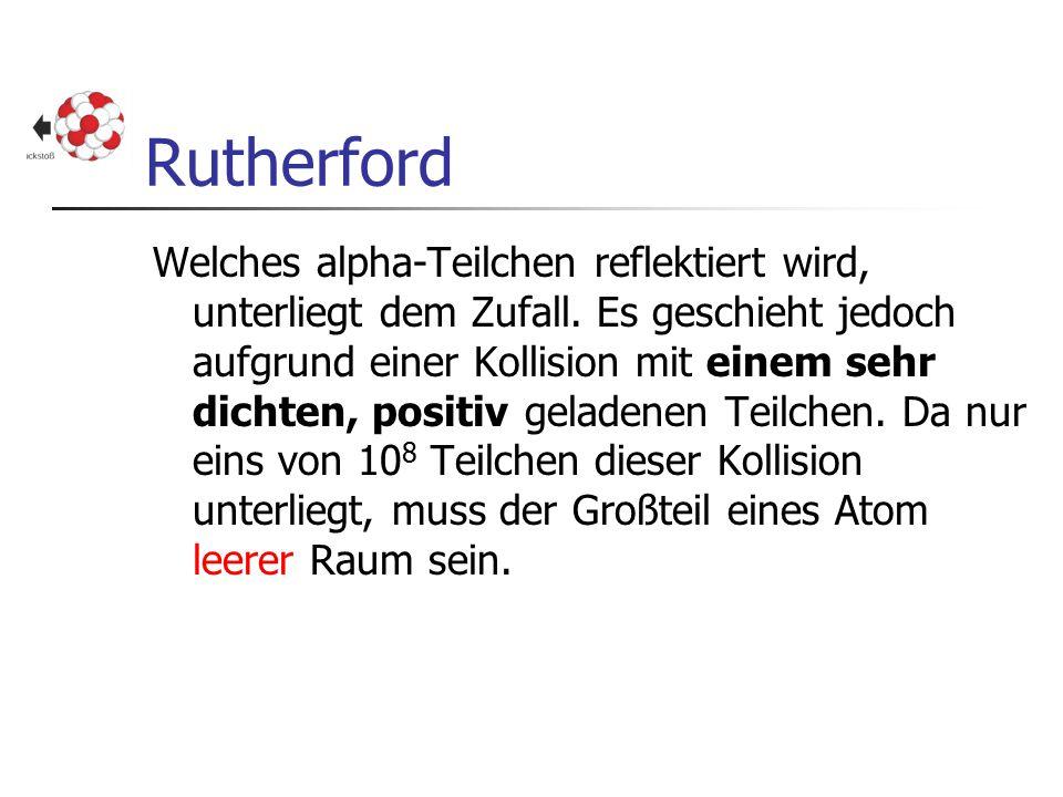 Rutherford Welches alpha-Teilchen reflektiert wird, unterliegt dem Zufall. Es geschieht jedoch aufgrund einer Kollision mit einem sehr dichten, positi