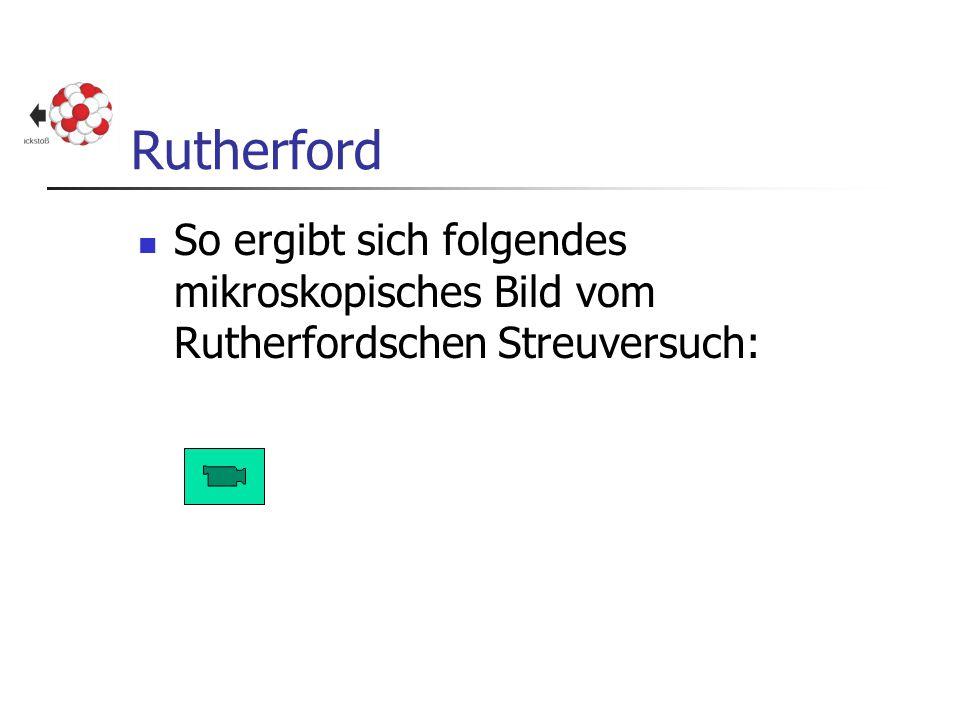 Rutherford So ergibt sich folgendes mikroskopisches Bild vom Rutherfordschen Streuversuch: