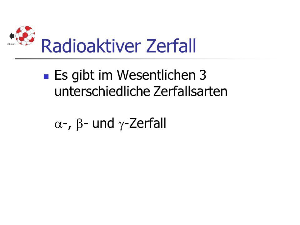 Radioaktiver Zerfall Es gibt im Wesentlichen 3 unterschiedliche Zerfallsarten  -,  - und  -Zerfall