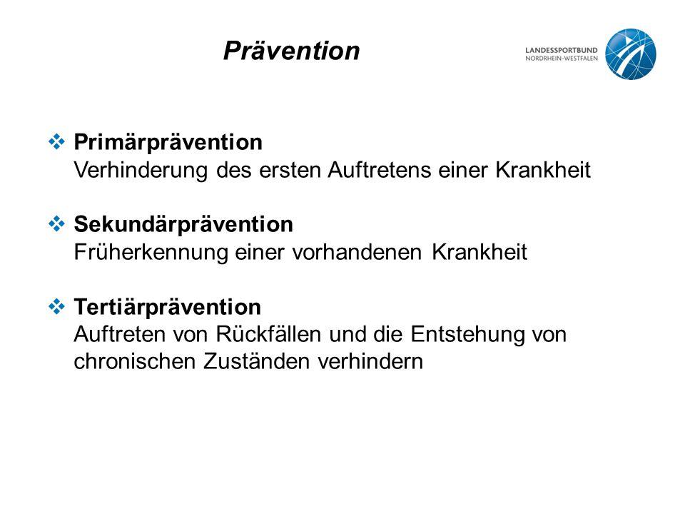 Prävention  Primärprävention Verhinderung des ersten Auftretens einer Krankheit  Sekundärprävention Früherkennung einer vorhandenen Krankheit  Tertiärprävention Auftreten von Rückfällen und die Entstehung von chronischen Zuständen verhindern