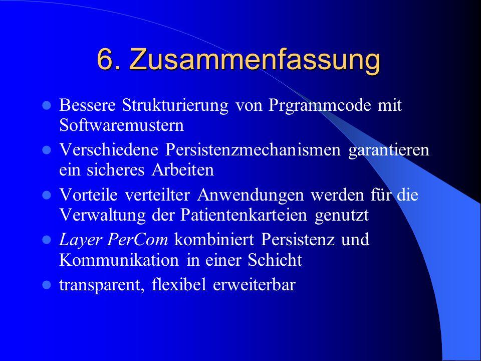 6. Zusammenfassung Bessere Strukturierung von Prgrammcode mit Softwaremustern Verschiedene Persistenzmechanismen garantieren ein sicheres Arbeiten Vor