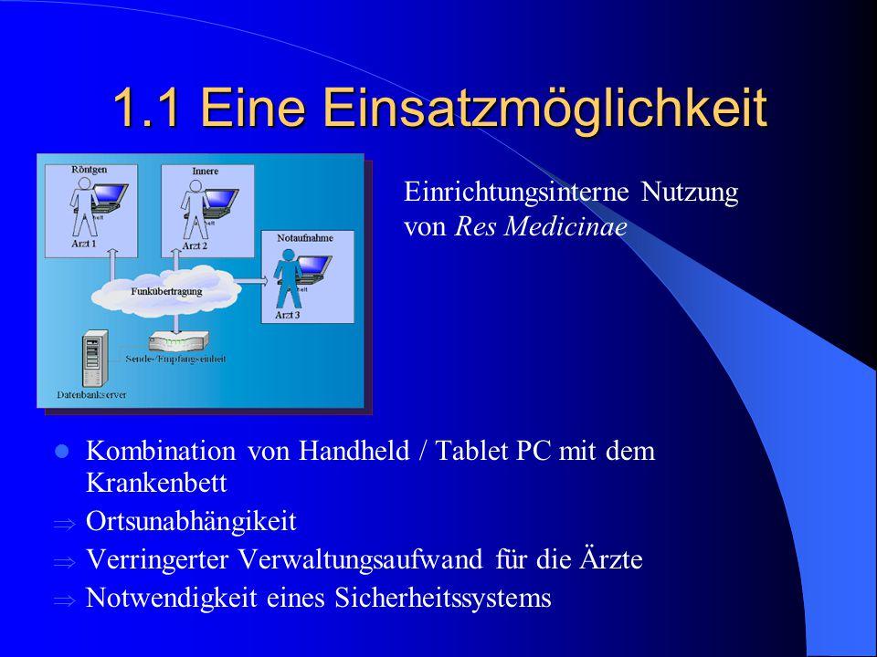 1.1 Eine Einsatzmöglichkeit Kombination von Handheld / Tablet PC mit dem Krankenbett  Ortsunabhängikeit  Verringerter Verwaltungsaufwand für die Ärz