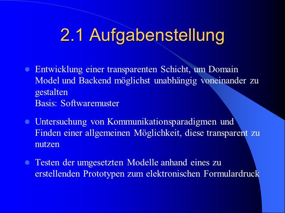 2.1 Aufgabenstellung Entwicklung einer transparenten Schicht, um Domain Model und Backend möglichst unabhängig voneinander zu gestalten Basis: Softwar