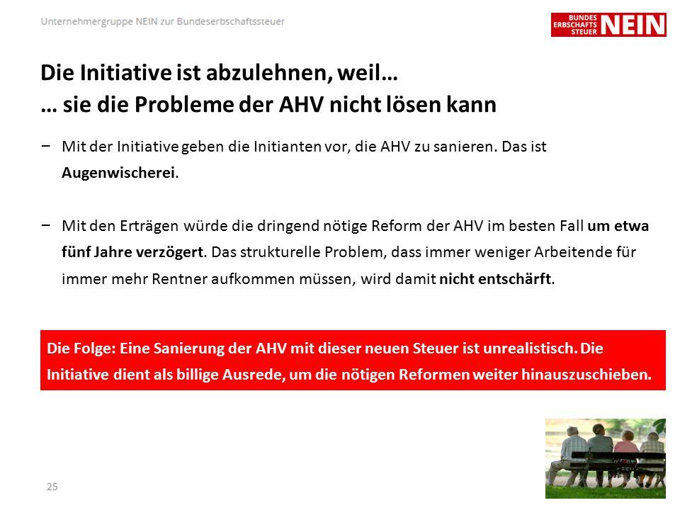 Die Initiative ist abzulehnen, weil… … sie die Probleme der AHV nicht lösen kann – Mit der Initiative geben die Initianten vor, die AHV zu sanieren.