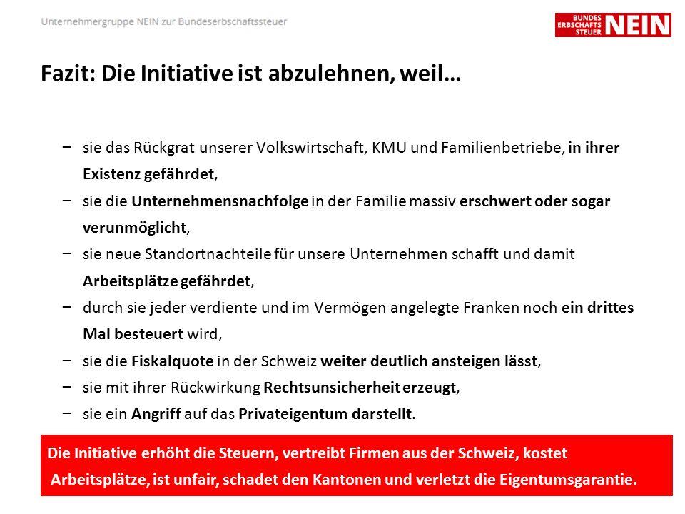 Fazit: Die Initiative ist abzulehnen, weil… – sie das Rückgrat unserer Volkswirtschaft, KMU und Familienbetriebe, in ihrer Existenz gefährdet, – sie die Unternehmensnachfolge in der Familie massiv erschwert oder sogar verunmöglicht, – sie neue Standortnachteile für unsere Unternehmen schafft und damit Arbeitsplätze gefährdet, – durch sie jeder verdiente und im Vermögen angelegte Franken noch ein drittes Mal besteuert wird, – sie die Fiskalquote in der Schweiz weiter deutlich ansteigen lässt, – sie mit ihrer Rückwirkung Rechtsunsicherheit erzeugt, – sie ein Angriff auf das Privateigentum darstellt.
