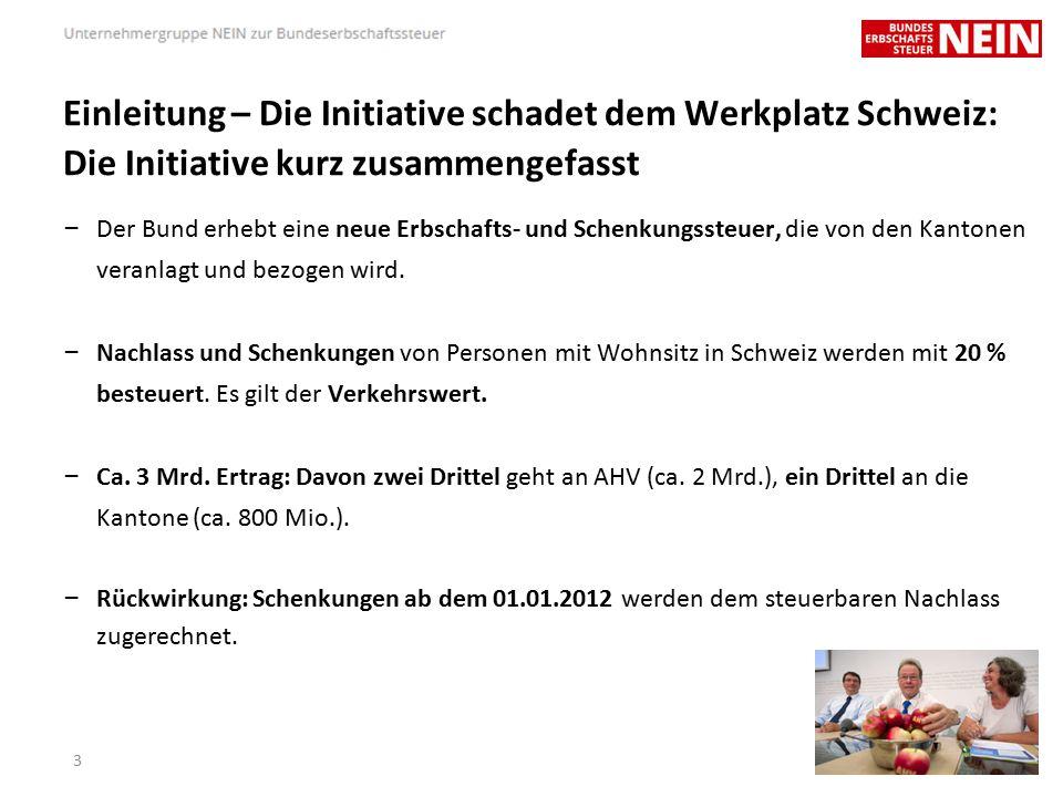 Einleitung – Die Initiative schadet dem Werkplatz Schweiz: Die Initiative kurz zusammengefasst – Der Bund erhebt eine neue Erbschafts- und Schenkungssteuer, die von den Kantonen veranlagt und bezogen wird.