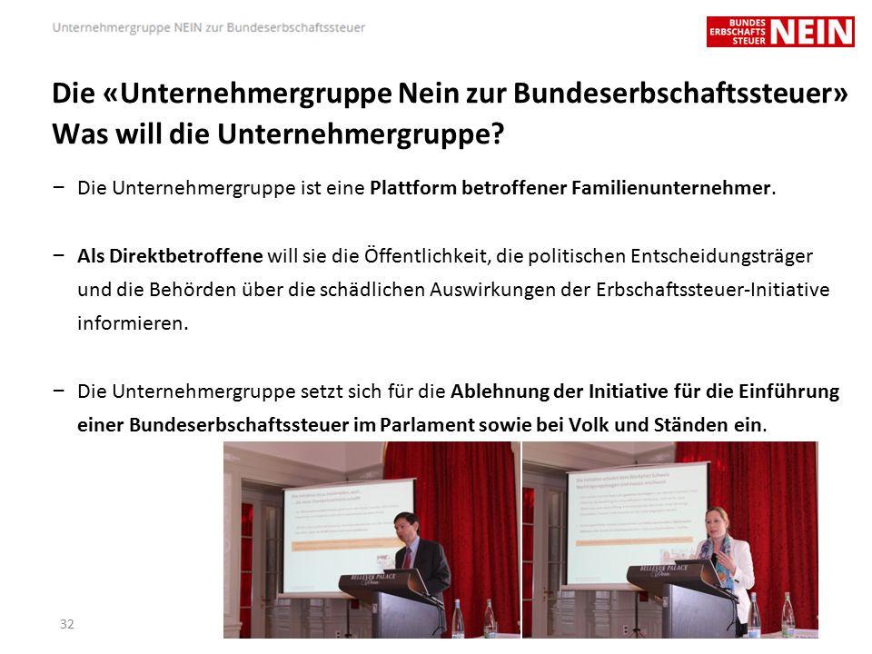 Die «Unternehmergruppe Nein zur Bundeserbschaftssteuer» Was will die Unternehmergruppe.