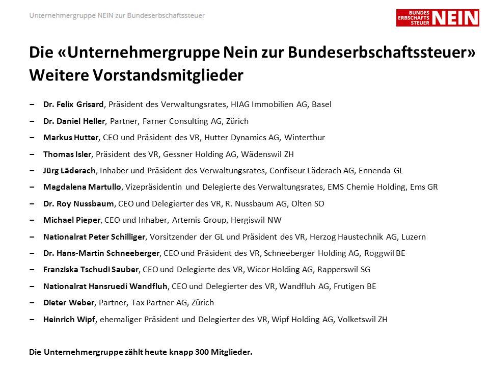 Die «Unternehmergruppe Nein zur Bundeserbschaftssteuer» Weitere Vorstandsmitglieder – Dr.
