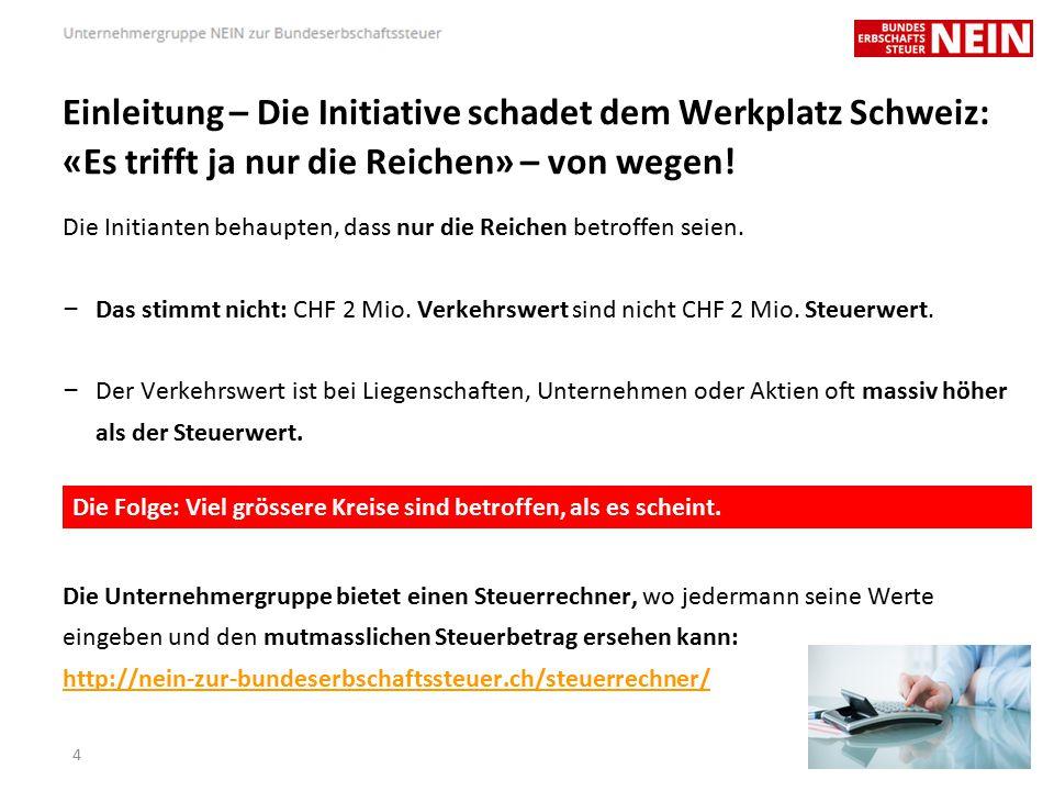 Agenda – Einleitung – Die Initiative schadet dem Werkplatz Schweiz – Die Initiative bedroht Unternehmensnachfolgen – Die Initiative ist zu bekämpfen, weil… – Die Initiative ist abzulehnen, weil… – Die «Unternehmergruppe Nein zur Bundeserbschaftssteuer» – Ihre Fragen 15