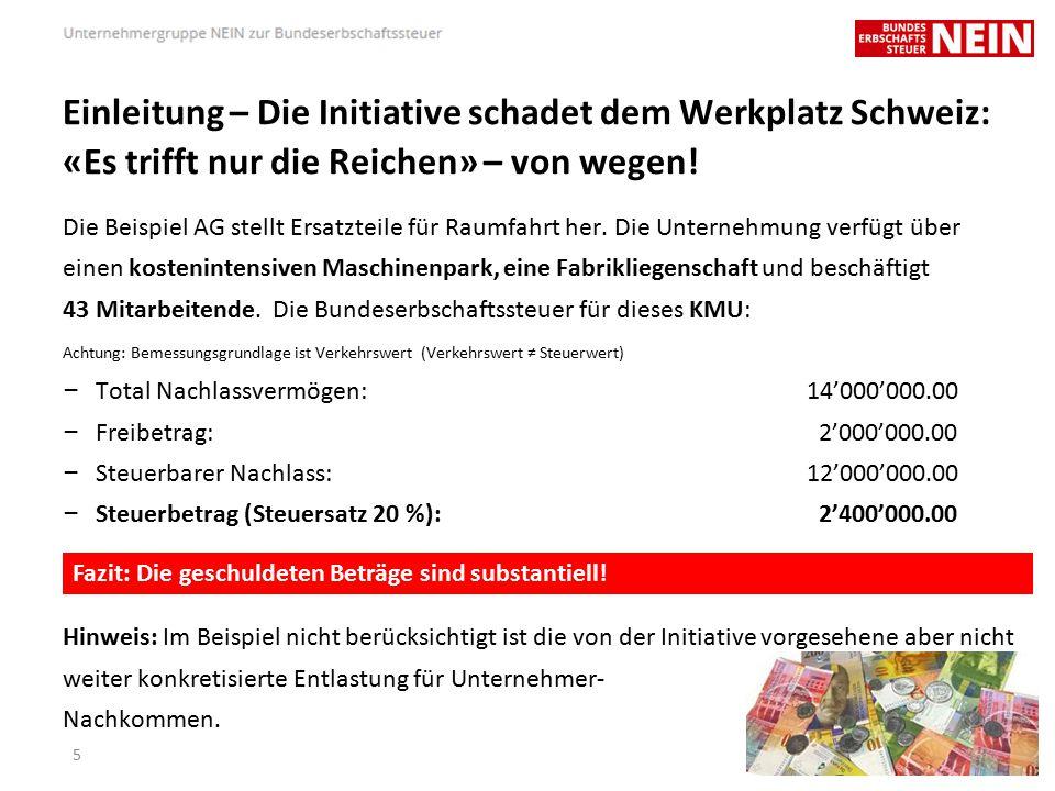 Einleitung – Die Initiative schadet dem Werkplatz Schweiz: «Es trifft nur die Reichen» – von wegen.