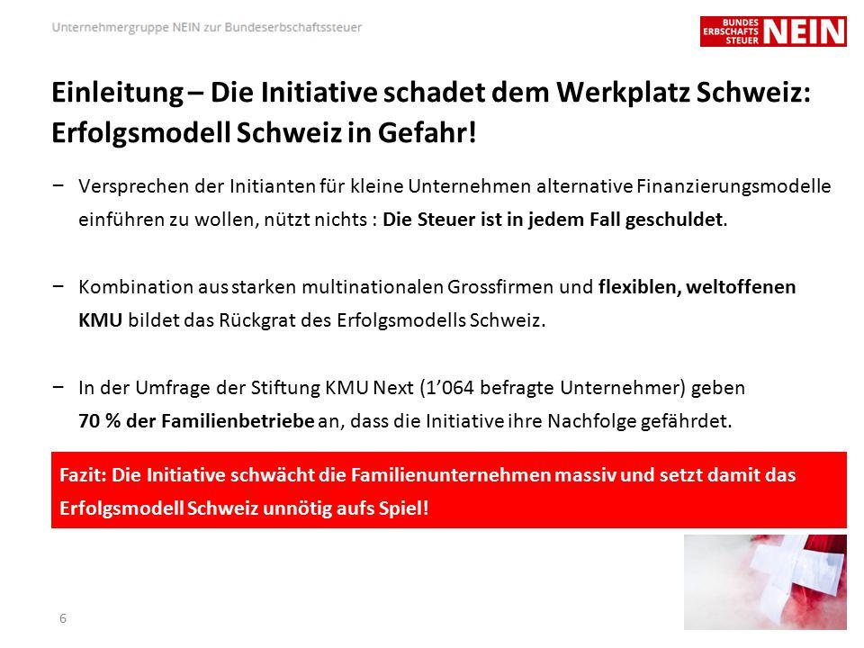 Die Initiative ist zu bekämpfen, weil… … sie neue Standortnachteile schafft – Der Wirtschaftsstandort Schweiz gerät durch den teuren Franken, hohe Kosten, Finanzkrise und steigende Unternehmungsbesteuerung unter Druck.