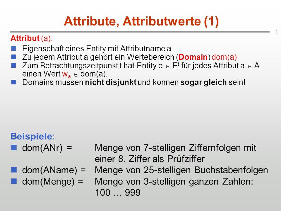 1 Attribute, Attributwerte (1) Attribut (a): Eigenschaft eines Entity mit Attributname a Zu jedem Attribut a gehört ein Wertebereich (Domain) dom(a) Zum Betrachtungszeitpunkt t hat Entity e  E t für jedes Attribut a  A einen Wert w a  dom(a).
