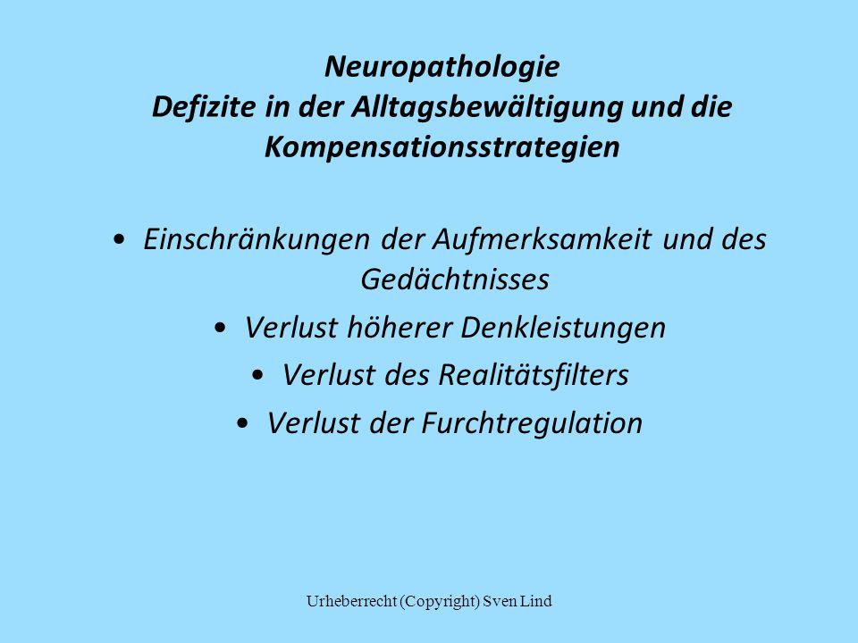 Neuropathologie Defizite in der Alltagsbewältigung und die Kompensationsstrategien Einschränkungen der Aufmerksamkeit und des Gedächtnisses Verlust hö