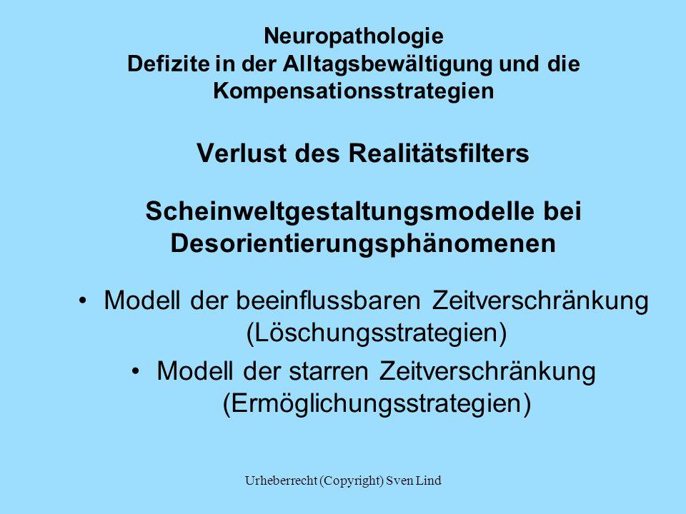 Neuropathologie Defizite in der Alltagsbewältigung und die Kompensationsstrategien Verlust des Realitätsfilters Scheinweltgestaltungsmodelle bei Desor