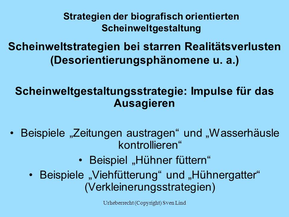 Strategien der biografisch orientierten Scheinweltgestaltung Scheinweltstrategien bei starren Realitätsverlusten (Desorientierungsphänomene u. a.) Sch