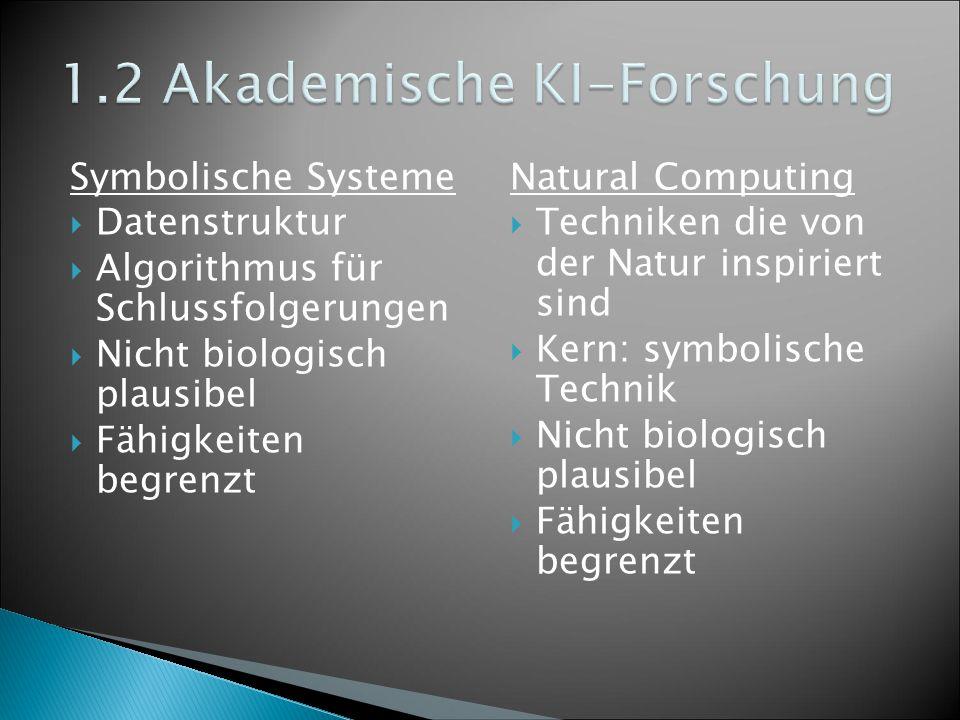 Symbolische Systeme  Datenstruktur  Algorithmus für Schlussfolgerungen  Nicht biologisch plausibel  Fähigkeiten begrenzt Natural Computing  Techniken die von der Natur inspiriert sind  Kern: symbolische Technik  Nicht biologisch plausibel  Fähigkeiten begrenzt