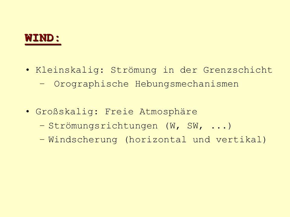 WIND: Kleinskalig: Strömung in der Grenzschicht – Orographische Hebungsmechanismen Großskalig: Freie Atmosphäre –Strömungsrichtungen (W, SW,...) –Wind