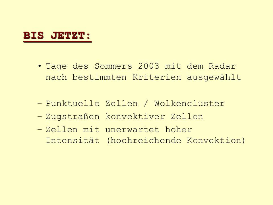 BIS JETZT: Tage des Sommers 2003 mit dem Radar nach bestimmten Kriterien ausgewählt –Punktuelle Zellen / Wolkencluster –Zugstraßen konvektiver Zellen