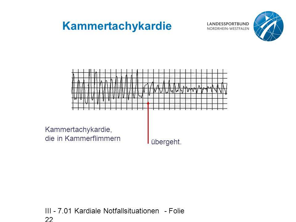 III - 7.01 Kardiale Notfallsituationen - Folie 22 Kammertachykardie Kammertachykardie, die in Kammerflimmern übergeht.