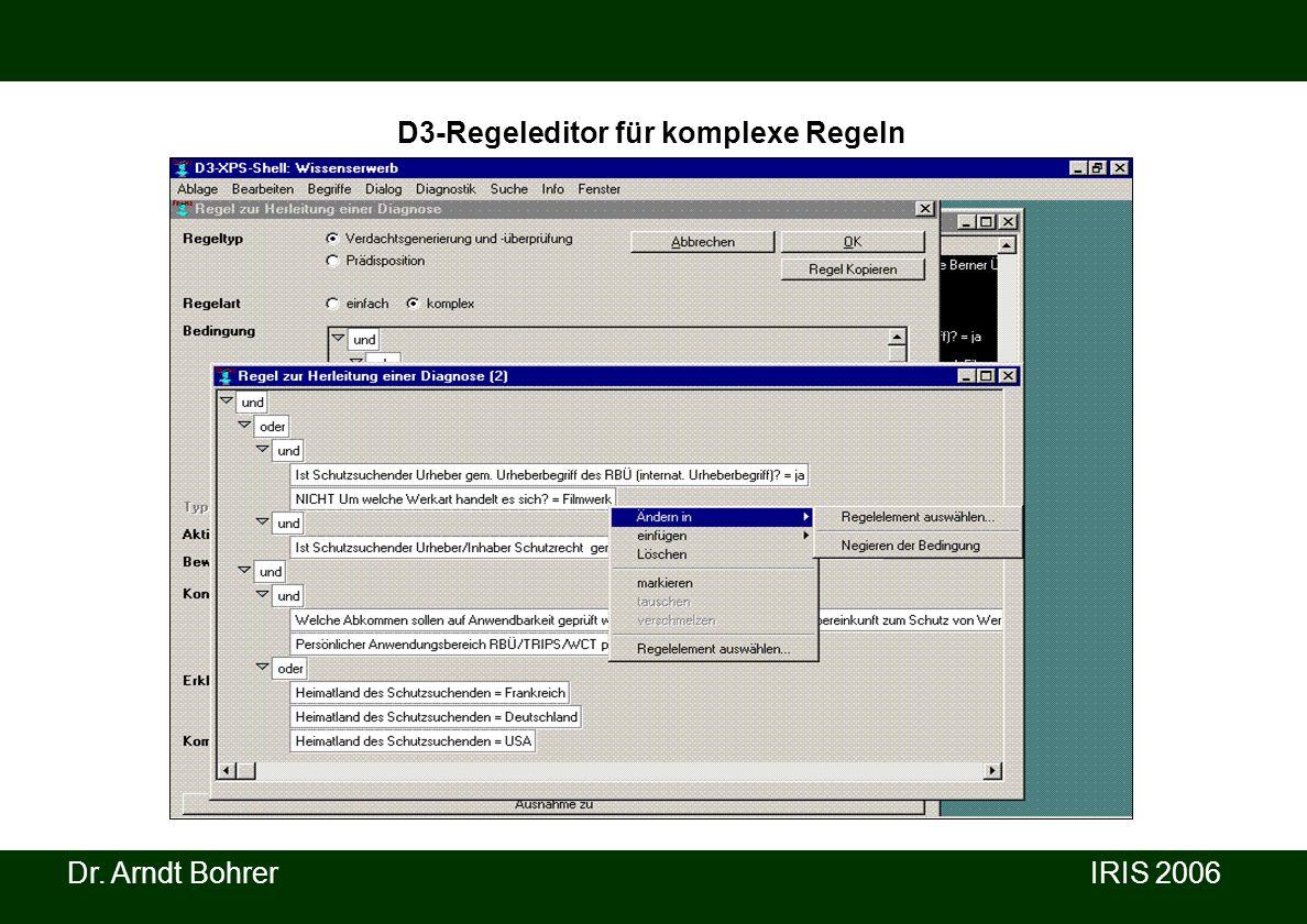 Dr. Arndt Bohrer IRIS 2006 D3-Regeleditor für komplexe Regeln