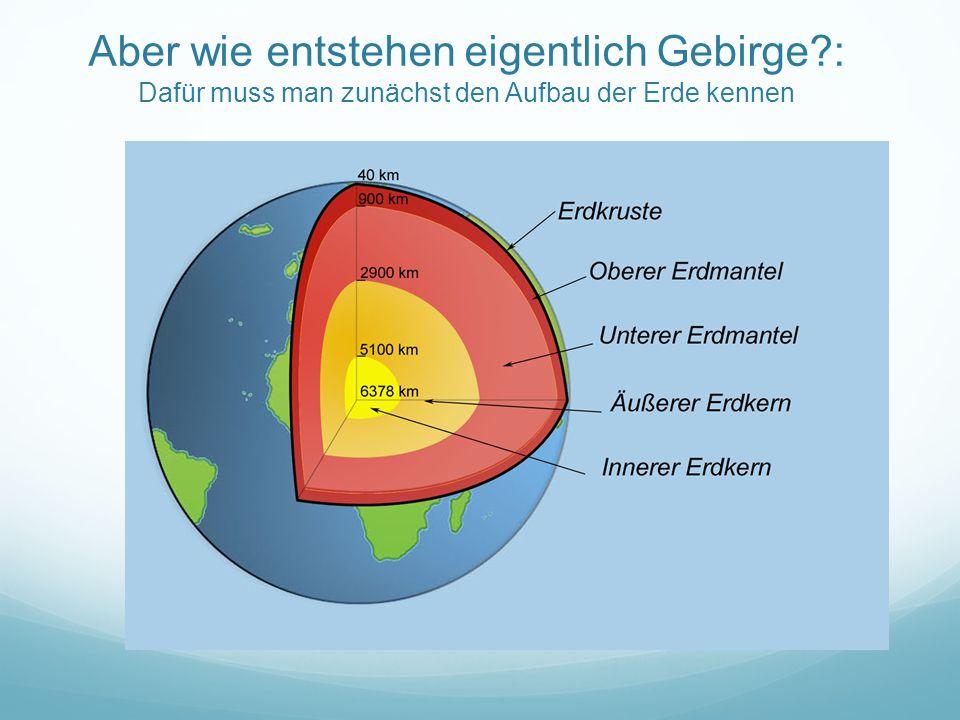Aber wie entstehen eigentlich Gebirge?: Dafür muss man zunächst den Aufbau der Erde kennen