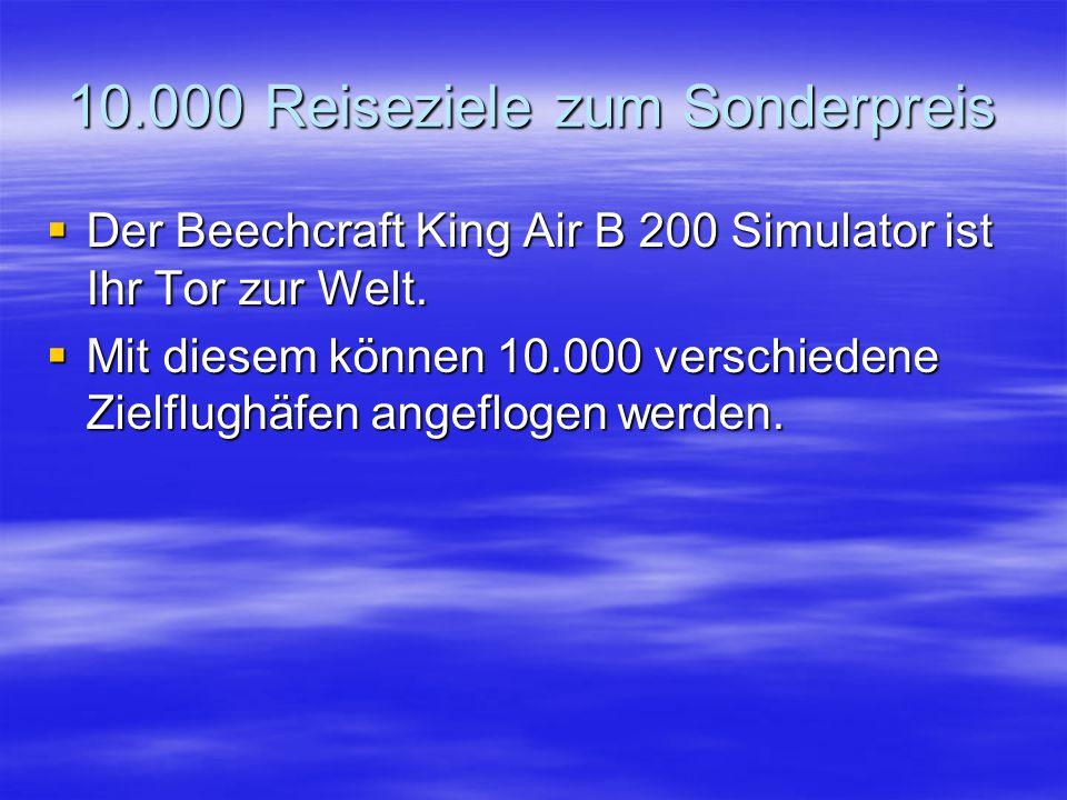 10.000 Reiseziele zum Sonderpreis  Der Beechcraft King Air B 200 Simulator ist Ihr Tor zur Welt.
