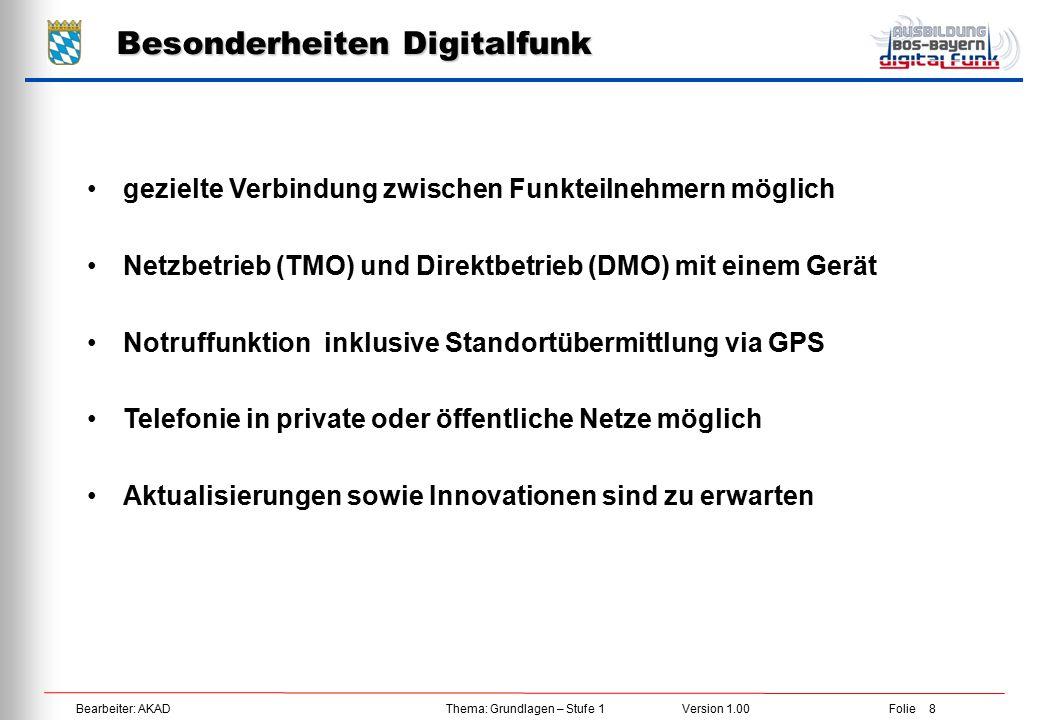Bearbeiter: AKAD Thema: Grundlagen – Stufe 1 Version 1.00 Folie 9 Netzaufbau Digitalfunk BOS Deutschland  Weltweit größtes Funknetz auf TETRA 25 Standard  45 Netzabschnitte Bundesweit  ca.