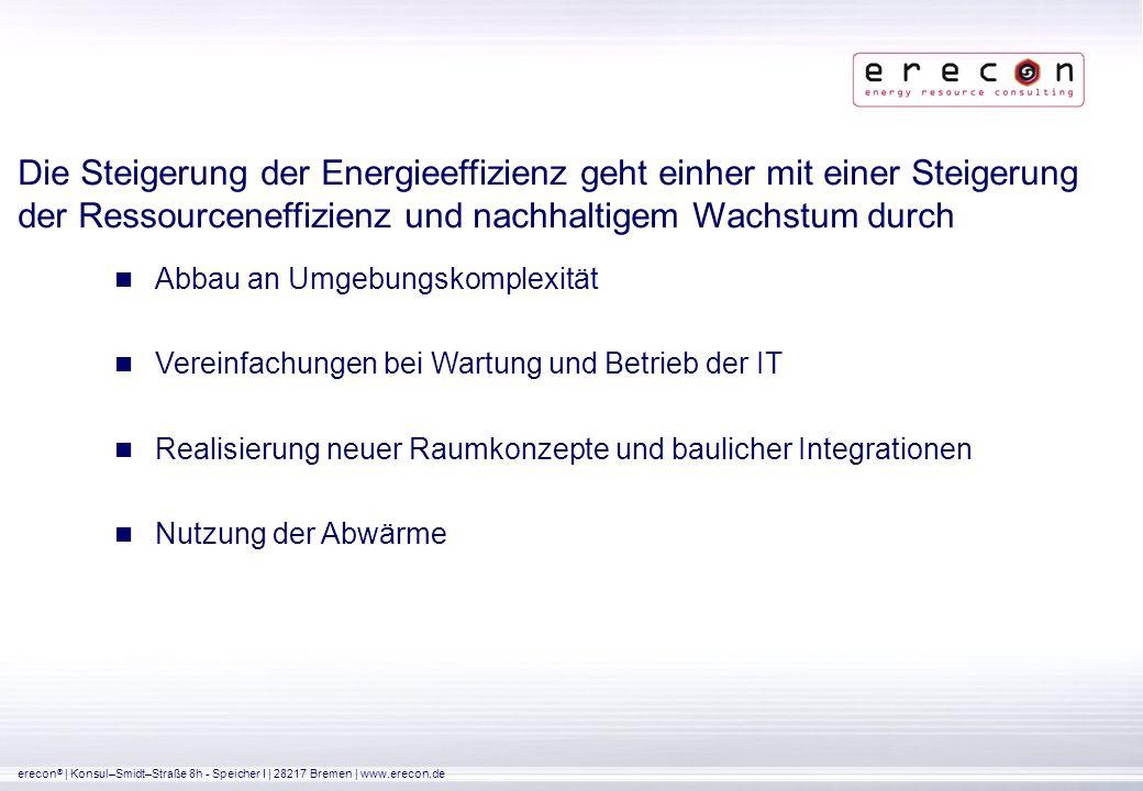 erecon ®   Konsul–Smidt–Straße 8h - Speicher I   28217 Bremen   www.erecon.de Umweltschutz, der auch wirtschaftlich überzeugt Früher Return-of-Invest Übernahme von umweltpolitischer Verantwortung Förderprogramme zur Steigerung der Energieeffizienz