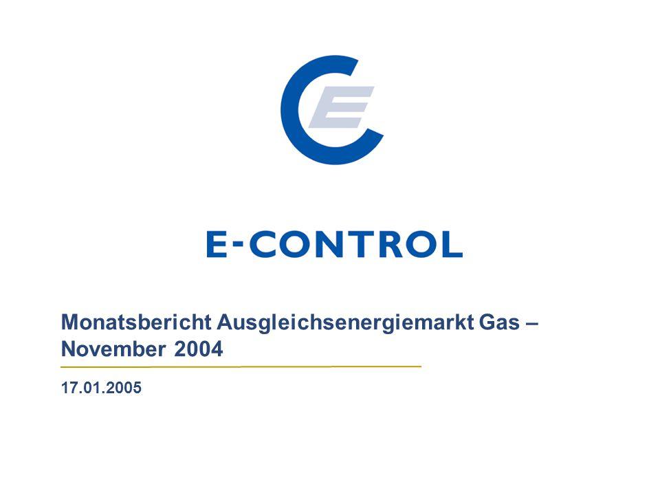 Monatsbericht Ausgleichsenergiemarkt Gas – November 2004 17.01.2005