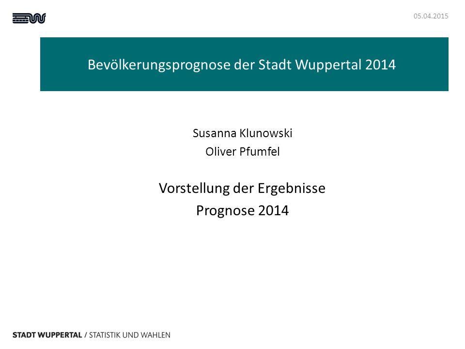 Bevölkerungsprognose 05.04.2015 Notwendigkeit: bis 2011 Rückgang der Wuppertaler Bevölkerung, ab 2012 Zunahme, Prognose aus 2007 bildet die tatsächliche Entwicklung nicht mehr ab Prognose ist eine Modellrechnung, sie basiert auf der durchschnittlichen Entwicklung der letzten 3 Jahre
