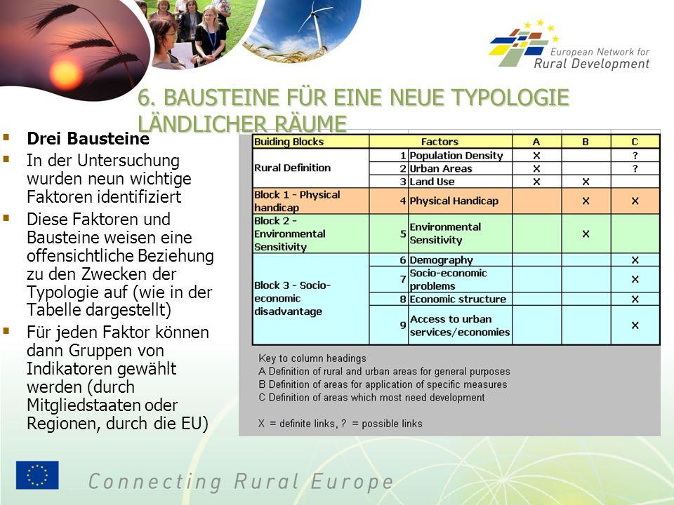  Drei Bausteine  In der Untersuchung wurden neun wichtige Faktoren identifiziert  Diese Faktoren und Bausteine weisen eine offensichtliche Beziehung zu den Zwecken der Typologie auf (wie in der Tabelle dargestellt)  Für jeden Faktor können dann Gruppen von Indikatoren gewählt werden (durch Mitgliedstaaten oder Regionen, durch die EU) 6.