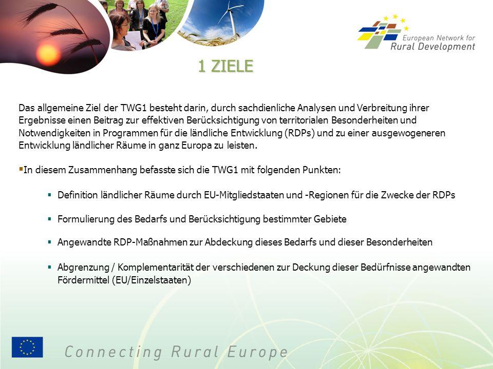 1 ZIELE Das allgemeine Ziel der TWG1 besteht darin, durch sachdienliche Analysen und Verbreitung ihrer Ergebnisse einen Beitrag zur effektiven Berücksichtigung von territorialen Besonderheiten und Notwendigkeiten in Programmen für die ländliche Entwicklung (RDPs) und zu einer ausgewogeneren Entwicklung ländlicher Räume in ganz Europa zu leisten.