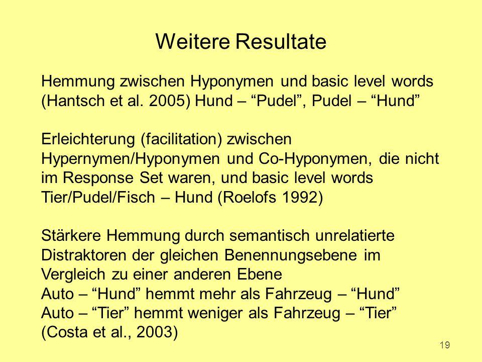 Weitere Resultate 19 Hemmung zwischen Hyponymen und basic level words (Hantsch et al.