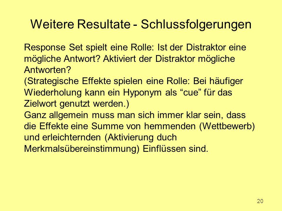 Weitere Resultate - Schlussfolgerungen 20 Response Set spielt eine Rolle: Ist der Distraktor eine mögliche Antwort.