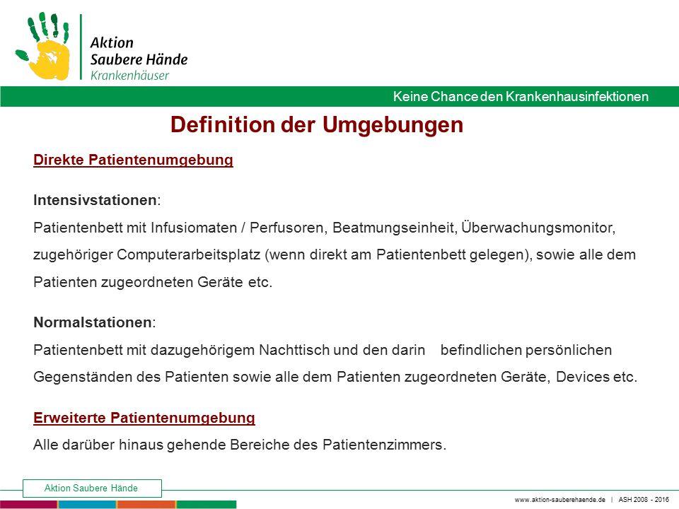 www.aktion-sauberehaende.de | ASH 2008 - 2016 Keine Chance den Krankenhausinfektionen Aktion Saubere Hände Direkte Patientenumgebung Intensivstationen