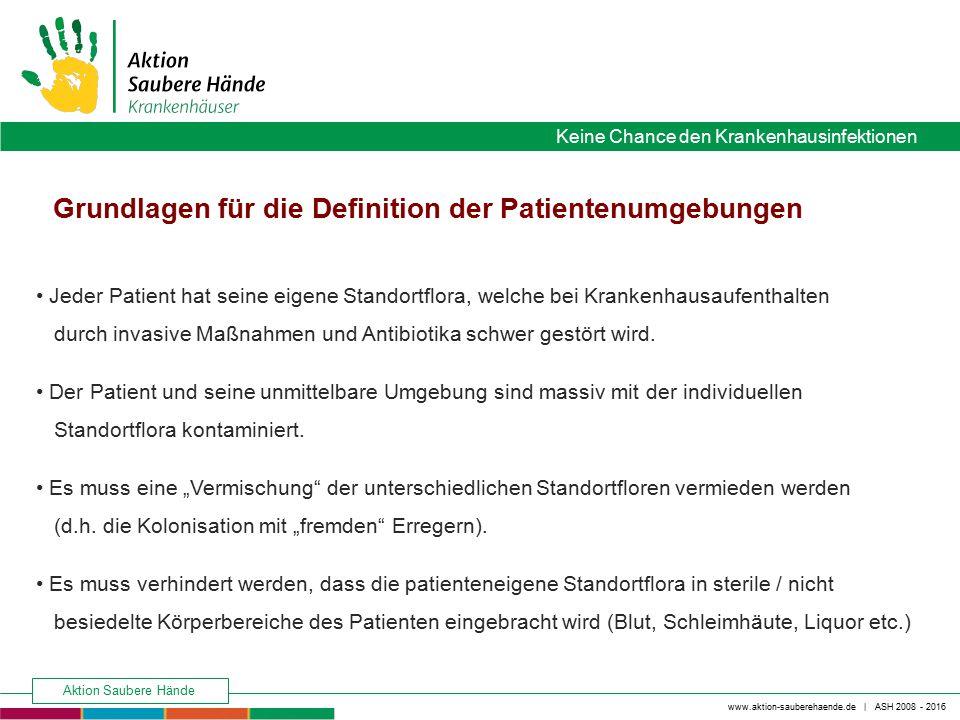 www.aktion-sauberehaende.de | ASH 2008 - 2016 Keine Chance den Krankenhausinfektionen Aktion Saubere Hände Jeder Patient hat seine eigene Standortflor
