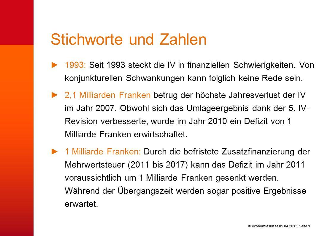 © economiesuisse Stichworte und Zahlen ►1993: Seit 1993 steckt die IV in finanziellen Schwierigkeiten.