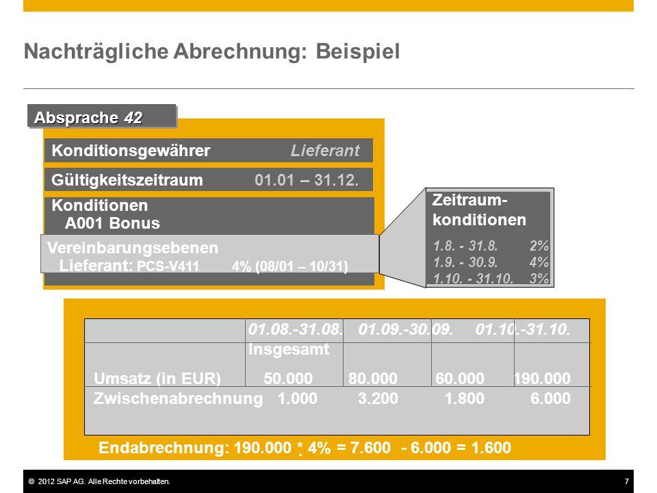 ©2012 SAP AG. Alle Rechte vorbehalten.7 Nachträgliche Abrechnung: Beispiel Absprache 42 Gültigkeitszeitraum 01.01 – 31.12. Konditionen A001 Bonus Vere
